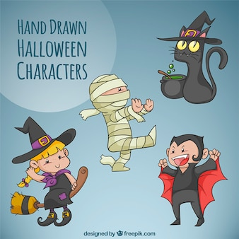 Pacote de caracteres do dia das bruxas desenhados à mão