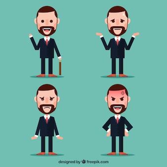 Pacote de caráter empresário plano com expressões faciais