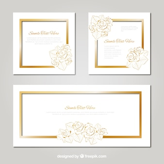 Pacote de cartão de casamento com detalhes florais dourados