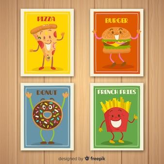 Pacote de cartão de comida animada
