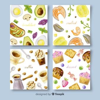 Pacote de cartão de comida aquarela