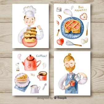 Pacote de cartão de comida de chef aquarela