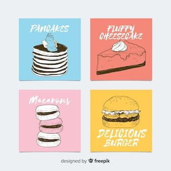 Pacote de cartão de comida desenhada de mão