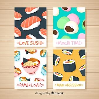 Pacote de cartão de comida japonesa
