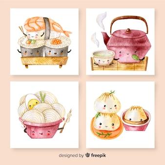 Pacote de cartão de comida oriental bonito