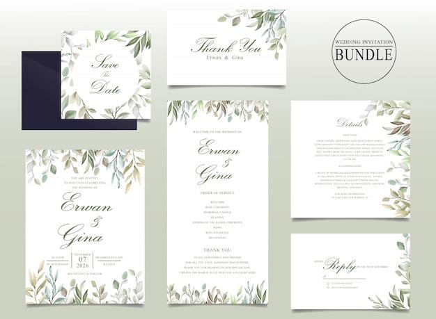 Pacote de cartão de convite de casamento bonito com folhas em aquarela