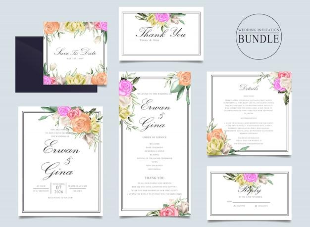 Pacote de cartão de convite de casamento com aquarela floral e folhas