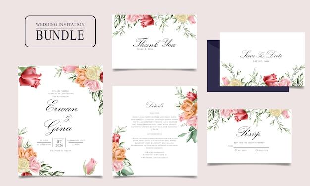 Pacote de cartão de convite de casamento com aquarela floral e modelo de folhas