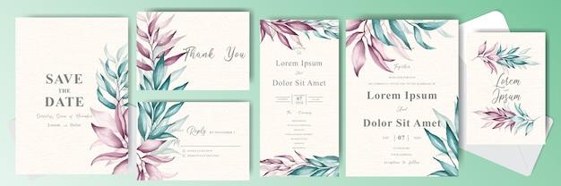 Pacote de cartão de convite de casamento editável com folhagem elegante