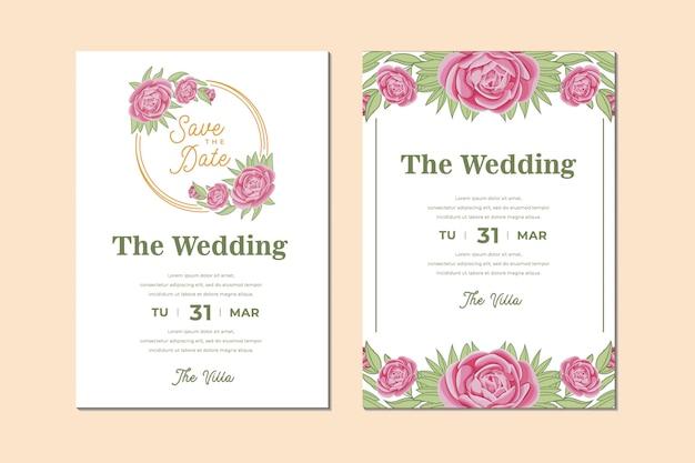 Pacote de cartão de convite de casamento lindo com moldura de flores e folhas de rosas