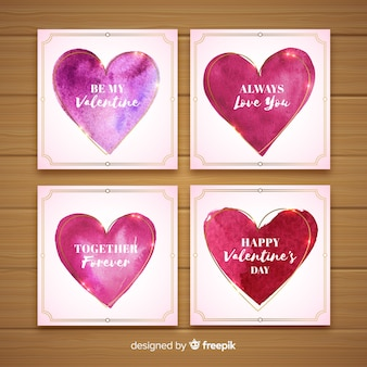 Pacote de cartão de dia dos namorados corações aquarela