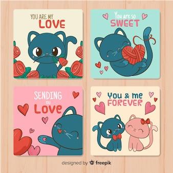 Pacote de cartão de dia dos namorados de gato mão desenhada