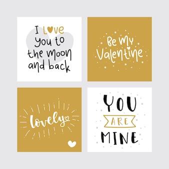 Pacote de cartão de dia dos namorados letras