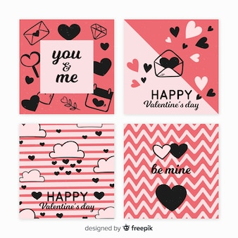 Pacote de cartão de dia dos namorados plana