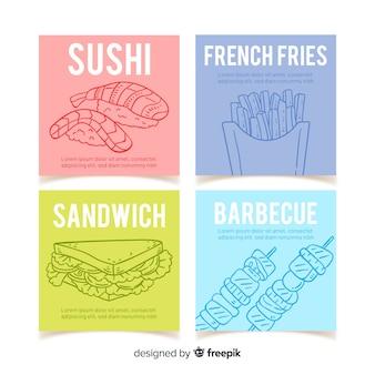 Pacote de cartão de fast food de mão desenhada
