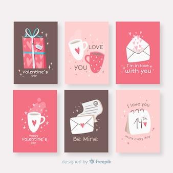 Pacote de cartão de mão desenhada dia dos namorados elementos