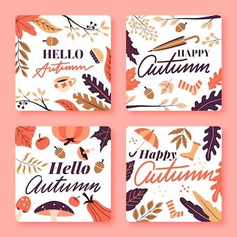 Pacote de cartão de outono de design plano