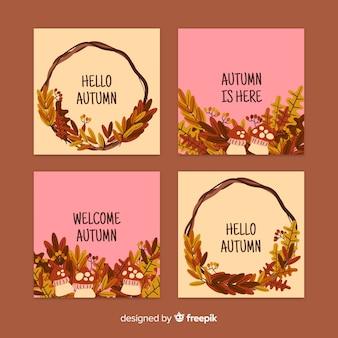Pacote de cartão de outono plana