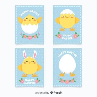 Pacote de cartão de páscoa de galinha