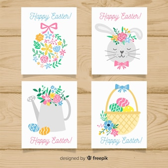 Pacote de cartão de páscoa floral