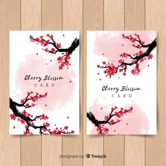 Pacote de cartão de ramo de flor de cerejeira