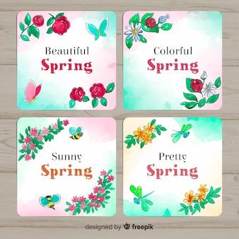 Pacote de cartão floral primavera aquarela