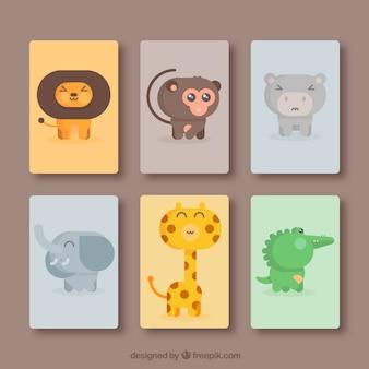 Pacote de cartas com animais divertidos
