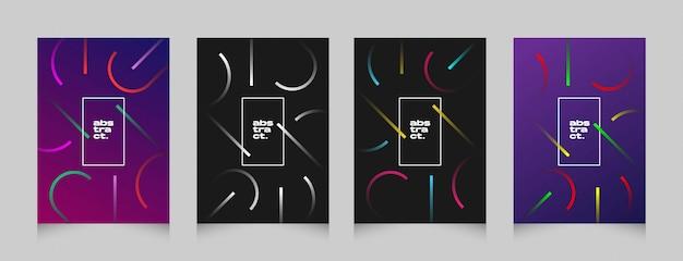Pacote de cartaz de banner futurista forma abstrata panfleto colorido