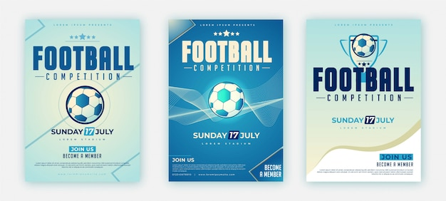 Pacote de cartaz ou folheto estilo futebol d