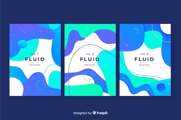 Pacote de cartazes com formas fluidas