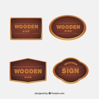 Pacote de cartazes de madeira retro