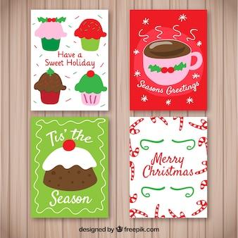 Pacote de cartões com doces de natal