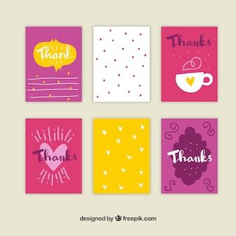 Pacote de cartões de agradecimento vintage