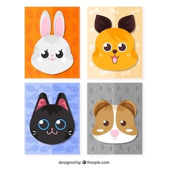 Pacote de cartões de animais com bonitos rostos