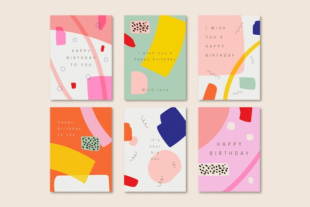 Pacote de cartões de aniversário desenhados à mão