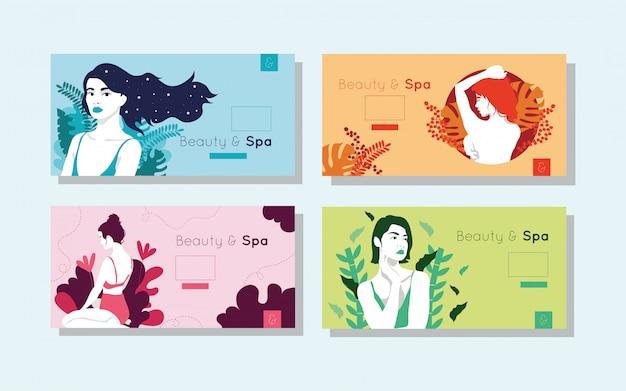 Pacote de cartões de beleza e spa com figuras de mulher