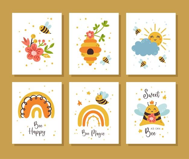 Pacote de cartões de berçário honey bee