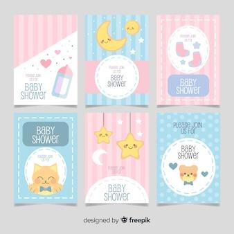 Pacote de cartões de chuveiro de bebê de elementos fofos