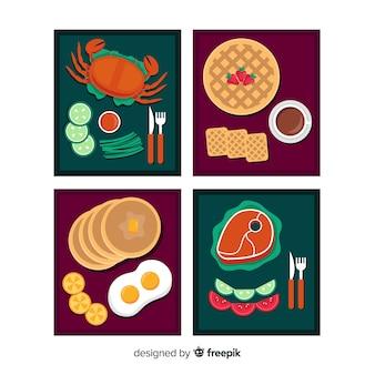 Pacote de cartões de comida simples