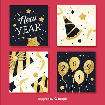 Pacote de cartões de detalhes de glitter de ano novo