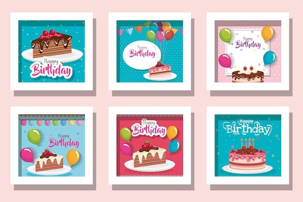 Pacote de cartões de feliz aniversário com comida deliciosa e decoração
