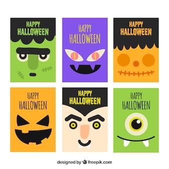 Pacote de cartões de halloween com personagens em design plano