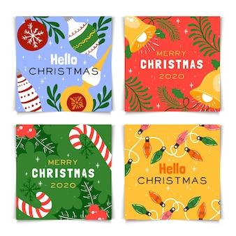 Pacote de cartões de natal coloridos desenhados à mão