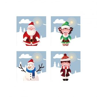 Pacote de cartões de natal com conjunto de ícones