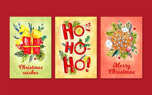 Pacote de cartões de natal em aquarela