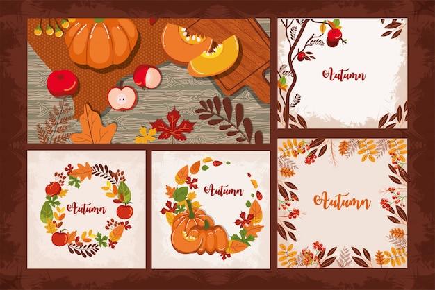 Pacote de cartões de outono sazonais