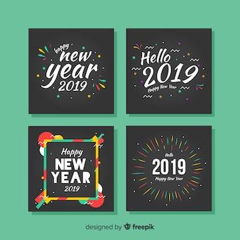 Pacote de cartões de quadros coloridos de ano novo