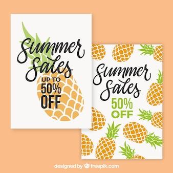 Pacote de cartões de venda de verão com abacaxis