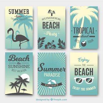 Pacote de cartões de verão azul