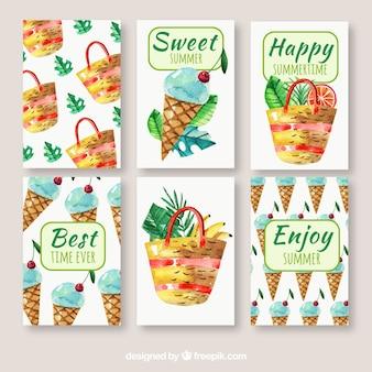 Pacote de cartões de verão com elementos de aquarela